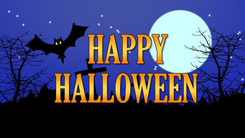 Happy halloween themed background with animated flying bats and scary moving trees Animation