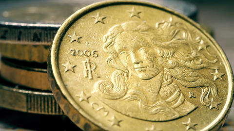 Detail of the famous Birth of Venus painting on Italian 10 Euro cents coin Footage