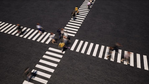Pedestrians on crosswalk perspective view footage Live Action