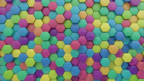 3d animated hexagon random color combination Animation