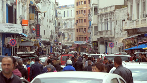 Arabic City Crowded Street Wit Many Cars And People (Time Lapse) Footage