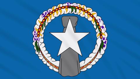Northern Mariana Islands flag waving cloth, loop Animation
