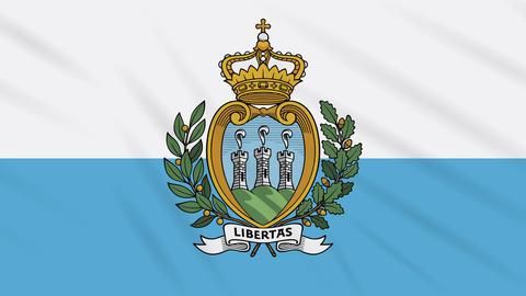 San Marino flag waving cloth background, loop Animation