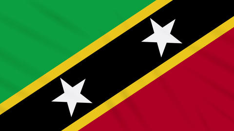 Saint Kitts and Nevis flag waving cloth, loop Animation
