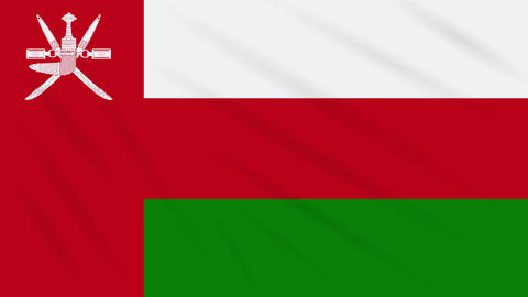 Oman flag waving cloth background, loop Animation