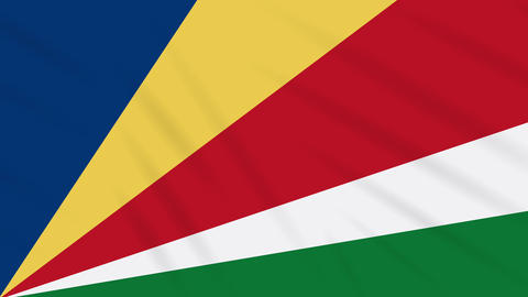 Seychelles flag waving cloth background, loop Animation