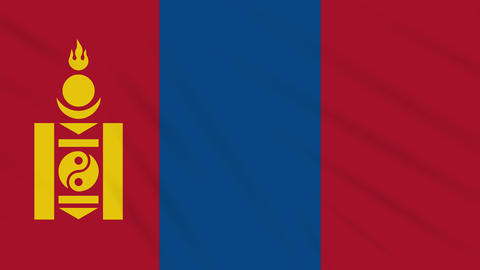 Mongolia flag waving cloth background, loop Animation
