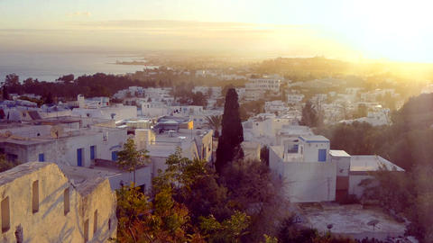 View Of The Famous Tunisian Town Sidi Bou Said In The Evening With Moving Sun Rays Footage