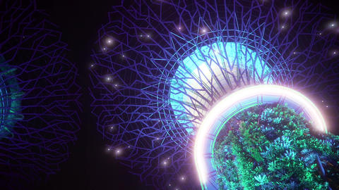 Beautiful Neon Tree Sculptures in Supertree Grove Singapore Live Action