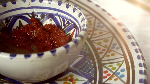 Traditional Arabic Cuisine Sauce In Painted Porcelain Plate Stock Video Footage