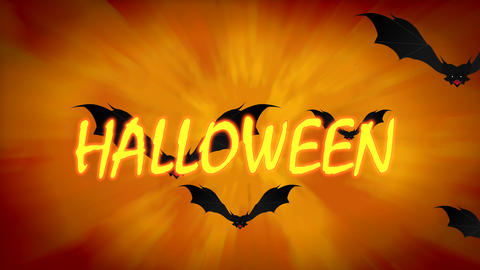 Halloween Spooky Animation with Flying Bats on orange gradient background. Halloween themed Animation