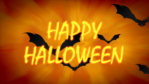 Happy Halloween Spooky Animation with Flying Bats on orange gradient background. Halloween themed Animation