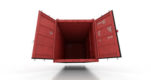 Red shipping container falling on white floor and doors opening Animation