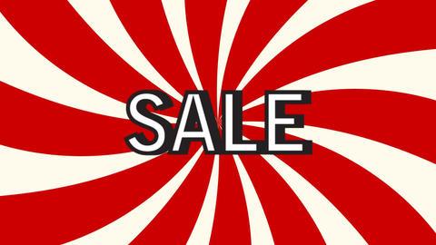 Sale pop art animation Rotation rays Text sale Red twist…, Stock Animation
