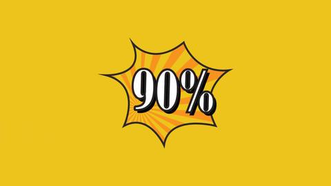 Sale pop art animation. 90 percent. Rotation rays Footage