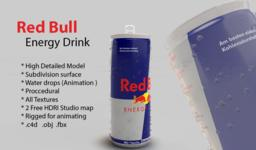 Redbull Energy drink can with Realistic water drops 3D Modell
