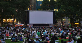 People Wait for a Movie in Bryant Park in the Evening Footage