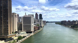 Aerial View of East River from Roosevelt Island Tramway PT1of2 Footage
