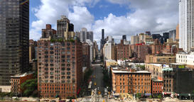 Aerial View Looking Down 1st Avenue in Manhattan Footage