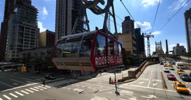 Roosevelt Tramway Leaves the Station Above 1st Avenue in Manhattan Footage