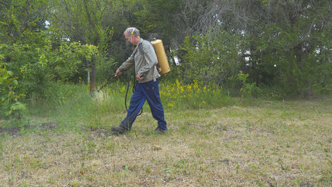 The man sprays the grass against insect pests. Spraying of insecticides at lawn Footage