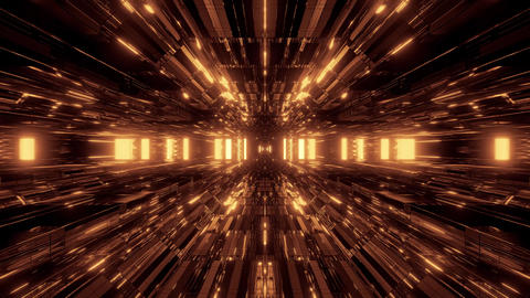 beautiful golden futuristic scifi space ship tunnel background 3d illustration Animation