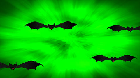 Halloween Spooky Animation with Flying Bats on green gradient background. Halloween themed Animation
