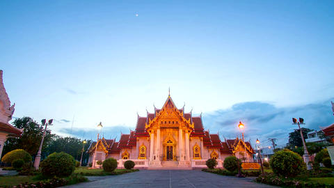 The Marble Temple, Wat Benchamabopit Dusitvanaram in Bangkok, Thailand Live Action