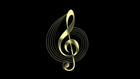 Gold Treble Clef and Music Staff Animation