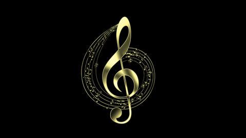 Gold Treble Clef with Decorative Music Score Animation