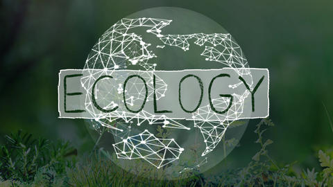 animation logo with ecology writing with ecology theme background Footage