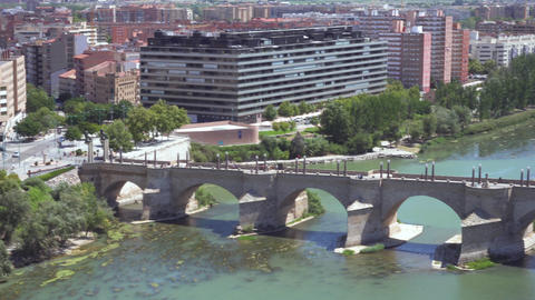 Aerial view of Zaragoza cityscape and stone bridge over Ebro river from Pilar Footage