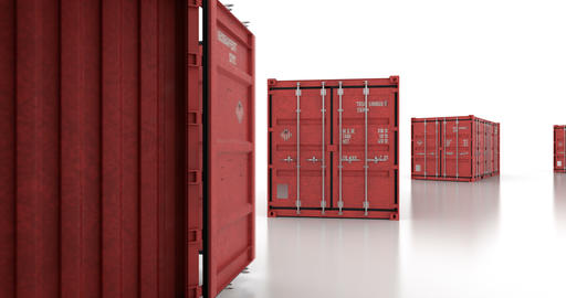 Seamless move thru shipping containers with doors opening on white background Animation