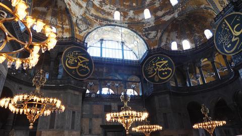 Istanbul Hagia Sophia indoor beautiful view Live Action