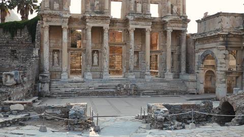Beautiful ancient roman library at ancient roman ruins Live Action