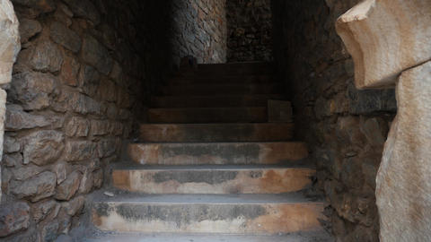 Old roman rocky stairs at roman ruins Live Action