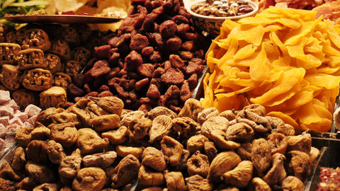 Dried fruits nuts and figs close up Live Action