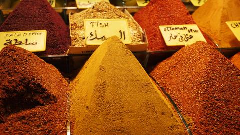 Piles of condiments in turkish bazaar Live Action