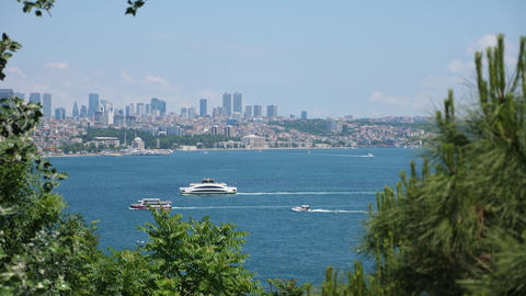 Istanbul view over bosphorus with boats passing on the strait Live Action