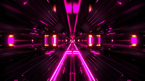 black futuristic sci-fi tunnel with with pink glowing lights background 3d Animation