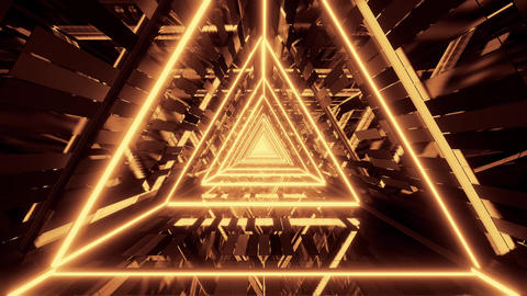 abstract glowing golden triangle wireframe background walpaper 3d rendering Animation
