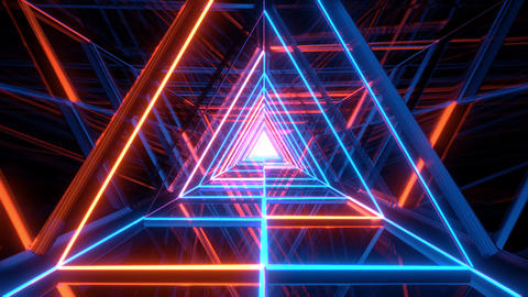 abstract glowing blue orange triangle wireframe background walpaper 3d rendering Animation