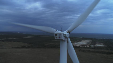 Aerial view of Wind turbines Energy Production- 4k aerial shot on sunset. 4k Footage
