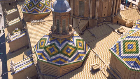 Aerial tilt shot view of dome and roof of famous landmark Basilica Our Lady of Live Action