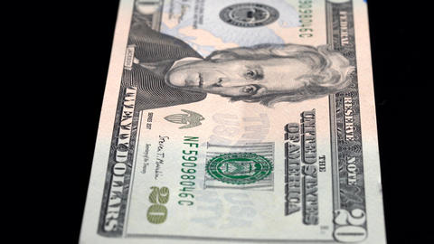 Currency Scan Low Depth of Field USD 20 front Footage