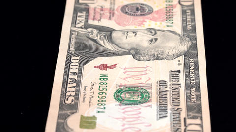 Currency Scan Low Depth of Field USD 10 front Footage