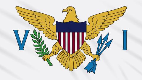 Virgin Islands flag waving cloth, background loop Animation