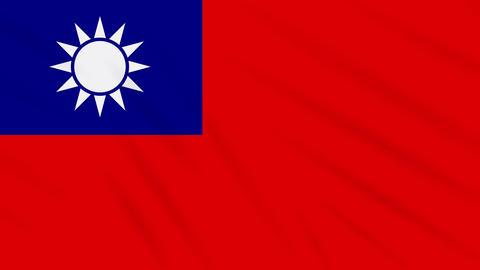 Taiwan flag waving cloth, background loop Animation