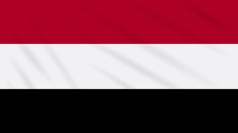 Yemen flag waving cloth, background loop Animation