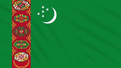 Turkmenistan flag waving cloth, background loop Animation